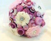 Lavender Button Bouquet Alternative Quinceanera Non traditional Shabby Chic Romatic Bouquet