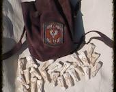 FIRE & SUN colors Stag Head Oak Leaf Borders Futhark 24 rune set  deer bone with buckskin bag   High Quality  heathen pagan