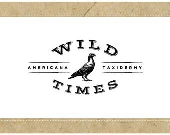 PreMade Logo Design - PreDesigned Logo - Custom Logo - Vector Logo - OOAK WILD TIMES Logo Design - Pigeon Logo - Bird Logo - Animal Logo