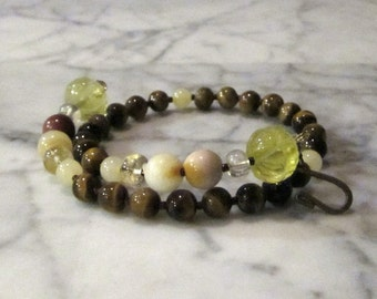 Natural Yellow Stone and Crystal Solar Plexus Chakra Healing Bracelet