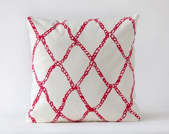 Fishnet Pillow- Hibiscus Print