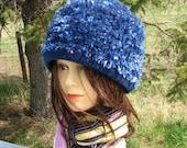 Navy Blue Natashia Knit Felt Hat Boxy Crusher Eyelash Novelty Yarn