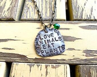 Love Animals Eat Plants, Vegetarian, Vegan, Necklace, Jewerly