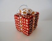 SALE Ginger Bread red and white Sequin bead Christmas Present Ornament