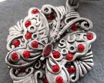 Vintage Style Red Rhinestone Metal Butterfly Pendant Necklace 38mm x 33mm  T2111