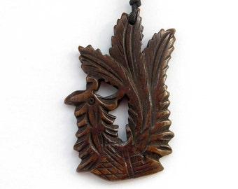 Ox Bone Carved Lucky Phoenix Firebird Amulet Talisman Bead Jewelry Pendant 47mm x 34mm  T0929