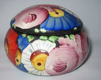 Vintage Royal Dux, Round Container, Colorful, Floral, Numbered 517, Signed, Décor, Porcelain, Pottery, Ceramic, Jewel Box