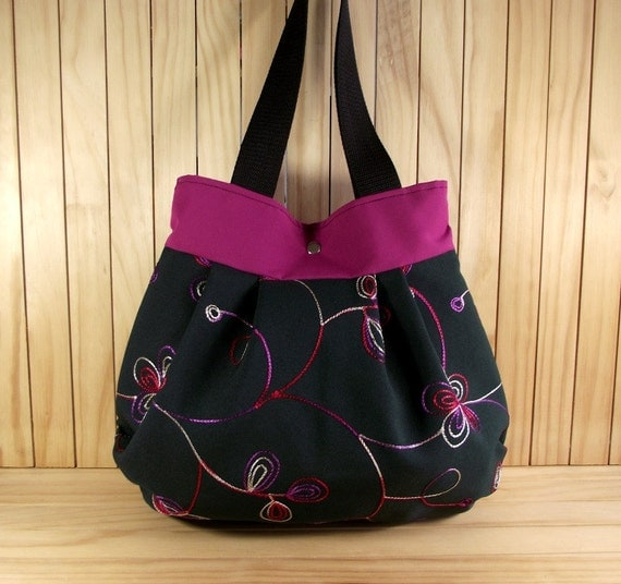 Floral Shoulder Bag Pleated Purse Bag - Fuschia Black - Tote Bag Medium Handbag Hobo Bag Every Day Bag