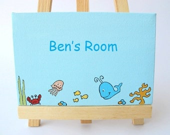 personalized door sign  child's name on a canvas sea animals wall art  blue sign for children room