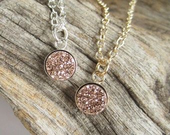 Tiny Rose Gold Druzy Necklace Titanium Drusy Quartz Bezel Set