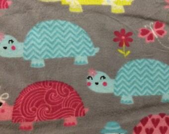 Chevron Turtles on grey - cotton flannel-  1 yard
