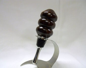 Handmade Wine Bottle Stopper, East Indian Rosewood, Stainless Steel