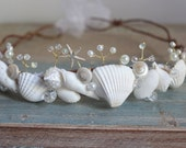 "Beach Wedding Tiara, Seashell Starfish Peals Crystals & Flowers crown ""BLAKE"" by the sea"