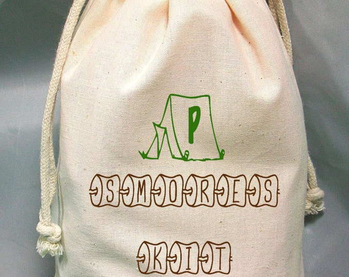 Camping Favor Bag, Smores Gift Bag, Birthday Goodie Bag