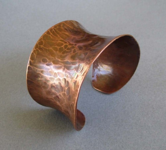 Hammered Copper Cuff Bracelet Artisan Handmade Rustic Earthy Natural Jewelry Bohemian Modern Tribal Jewelry Sale
