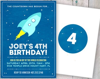 Space Birthday Party Invitation, Outer Space Birhtday Party Invitation, Rocketship Birthday Party