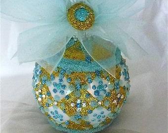 Glitter & Bead Glass Ornament