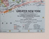 SALE! Vintage 1964 Map of Manhattan and Greater New York