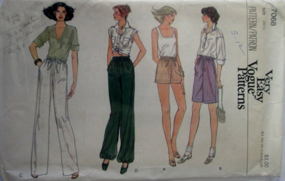 Vogue 7068 Womens Waist 26 1/2 Pants Shorts or Bermuda Sewing Pattern