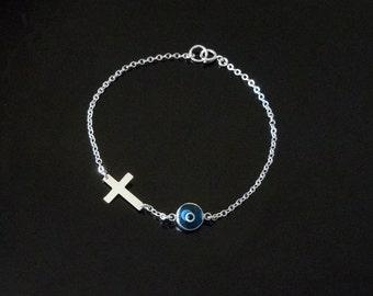 Evil Eye Cross Bracelet
