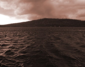 Dark lake pink sepia storm sky waves whitecaps print perspective