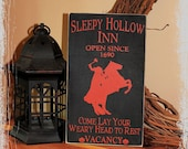 Sleepy Hollow Inn Headless Horseman-Halloween Decor/Halloween Party Decor/Fall Sign/Spooky Primitive Fall Decor/Halloween Porch Decor
