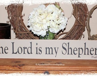 The Lord is my Shepherd Psalm 23 -WOOD SIGN- Family Christian Home Decor Bible Verse Scripture Art