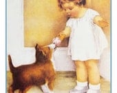 Bessie Pease Gutmann's The Reward Young Girl feeds her Puppy her Ice Cream Cone Counted Cross Stitch Chart Pattern