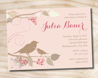 Girl Baby Shower Invitation MOMMA BIRD and Baby Bird - Printable Digital file or Printed Invitations