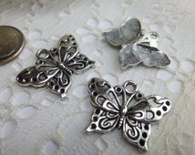 3 Butterfly Charms Pendants Embellishments 15 x 25mm Antique tibetan silver