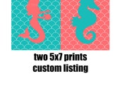 CUSTOM-two 5x7 Coral and Turquoise,Mermaid and Seahorse Print -Modern Art Prints