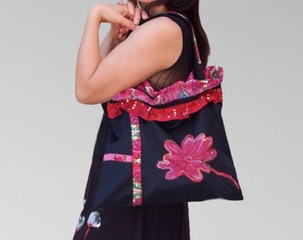 layered navy blue  cotton Bags/Women colorful ethnic embroidered hand bag/handmade tote purse