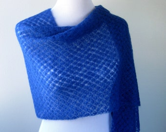 Cobalt Blue Hand Knit Shawl / Stole - Wedding / Special Occassion - MADE TO ORDER