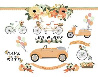 Wedding Car, Bicycle, Tandem, Scooter and Vintage Bike Floral Clip Art - Blog Graphics - Instant Download