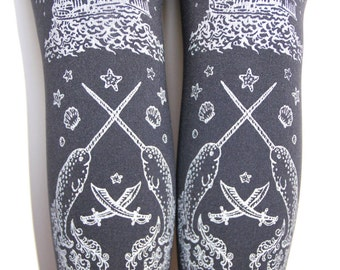 S M Pirate Silver Tights Narwhals Small Medium Silver on Slate Grey Gray 120 Den Thick Winter Women Tattoo Sailor Nautical
