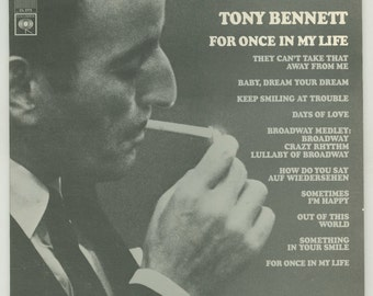 Tony Bennett - For Once in My Life  Vintage Vinyl Record Album - 1967 Columbia LP CS 9573 Male Vocalist Pop Vocals