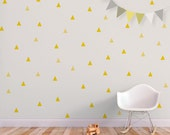 Baby wall decal triangle nursery decor wall sticker yellow. Little Peaks Children Wall Decal