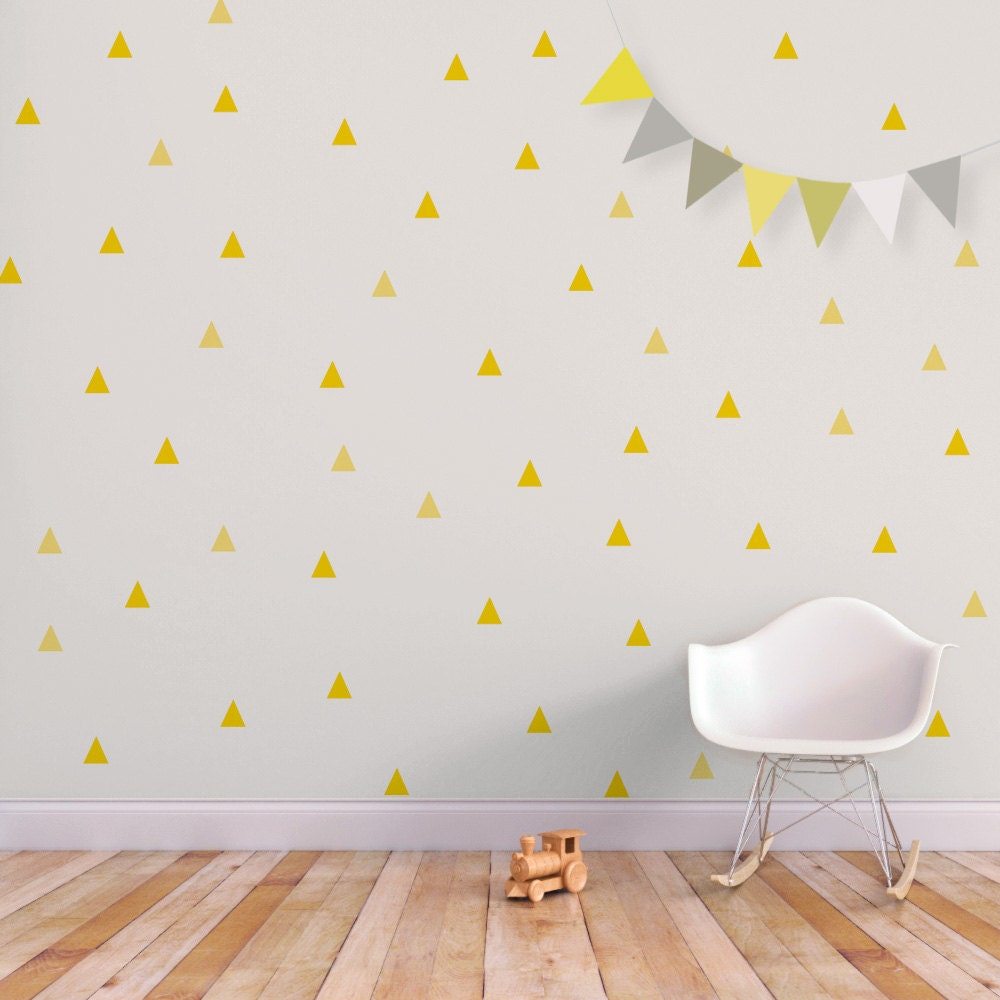 Baby Wall Decal Triangle Nursery Decor Wall Sticker Yellow - Yellow wall decals