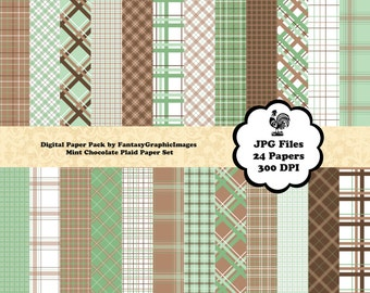 Plaid Mint Chocolate Digital Paper Pack - The Plaid Series - Green Brown - 24 Papers - Photography Background Scrapbooking Instant Download