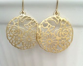 Gold Round Earrings with Cutout Design, Nature Jewelry, Floral Earrings