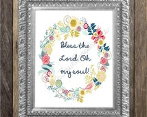 Printalbe, Hymn Art, Bless the Lord Oh My Soul, Digital Print, Instant Download