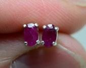 0.40 Carat Genuine Ruby Stud Earrings 5x3mm Oval Cut In Solid Sterling Silver