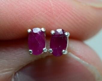 Ruby Earrings, 0.40 Carat Genuine Ruby Stud Earrings 5x3mm Oval Cut In Solid Sterling Silver, July Birthstone