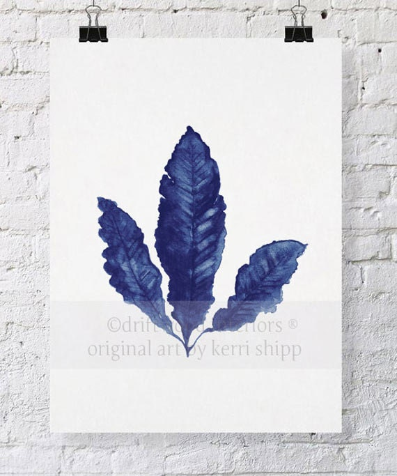 Sea Fan in Denim II Print 8 x 10 - Sea Life Art Print - Coral Art Print - Blue Coral Print - Seaweed Watercolor - Marine Life Print