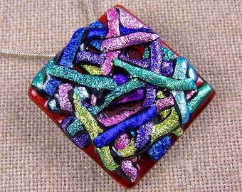 """Dichroic Pendant AND Pin Combo - Red Pink Teal Green Blue Yellow Recycled Dichro Rainbow Abstract Picture Mosaic Fused Glass - 1.25"""" x 1.25"""""""