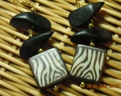 Brown Zebra Stripe Bone Earrings with Wood Beads