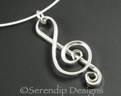 Argentium Sterling Silver Treble Clef Pendant, Sterling Silver Music Necklace, Silver Music Note Necklace, Musician Gift SN15