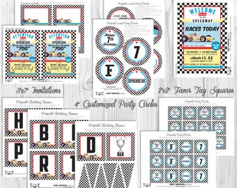 Race Car Party Decorations, Printable Party By Cutie Putti Paperie