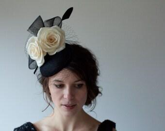 SAMPLE SALE 25% OFF Black and Ivory Floral Hat