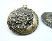 5pcs 38x45mm Antique Bronze Huge Goddess of Moon Round Charm Pendant C1497